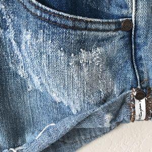 ONE TEASPOON distressed rip denim jean shorts 28